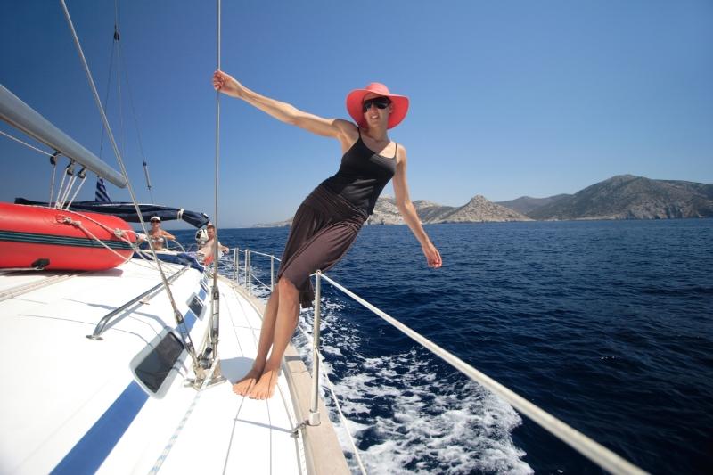 Sailing past Ios, Cyclades Islands, Greece. Photo Sailing Tranquilo